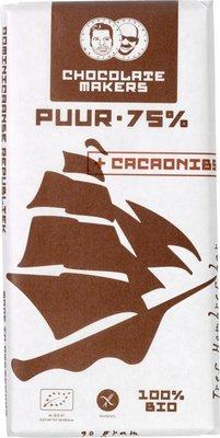 chocoladereep puur 75% met cacaonibs - tres hombres - 90 gram