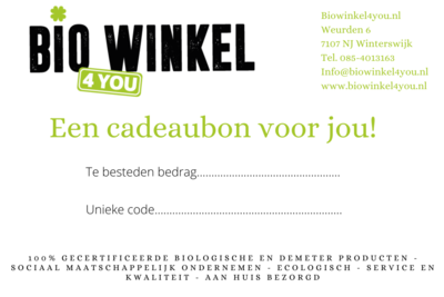 Cadeaubon Biowinkel4you.nl €40,-