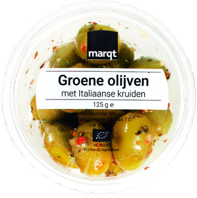 olijven groen italiaanse kruiden - 125 gram