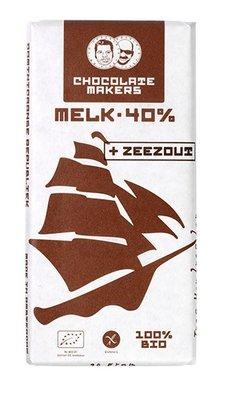 chocoladereep melk 40% met zeezout - tres hombres - 90 gram (koopjeshoek - tht)