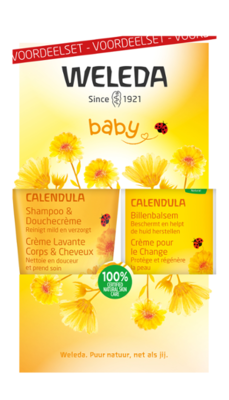 baby calendula billenbalsem en shampoo/douchecreme - weleda - set