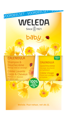 baby calendula gezichtscreme en shampoo/douchecreme - weleda - set